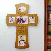 Memorial Wood Engraved Cross