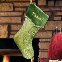 Green Swirly Sparkly Christmas Stocking