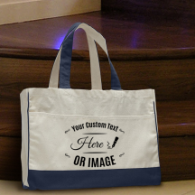Personalized Navy Blue Cotton Canvas Tote Bag with Inside Zipper Pocket
