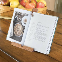 Personalized Rustic Farmhouse Acacia Wood Tablet Cooking Stand by Twine