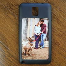 Black Custom Galaxy Note 3 Phone Case with Personalized Image Text