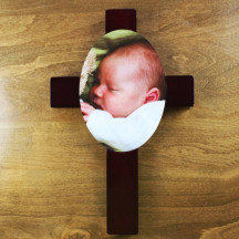Religious Cross Plaque with Personalized Custom Photo Image