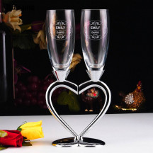 Personalized Beautiful Elegant Split Heart Base Goblets
