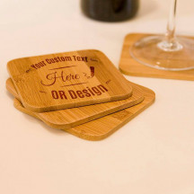 Personalized Bamboo Coasters Set-A Beautiful & Elegant Gift Made Of Natural Bamboo