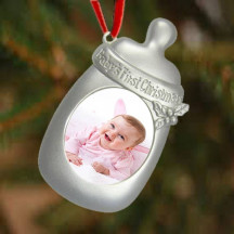 Personalized Silver Magnetic Baby Bottle Photo Frame Ornament