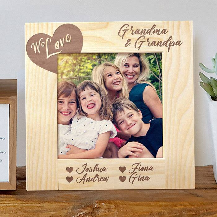 We Love Grandma And Grandpa Personalized Wooden Picture Frame Ebay